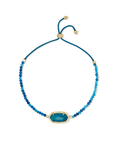 Elaina Gold Beaded Chain Bracelet in Teal Agate