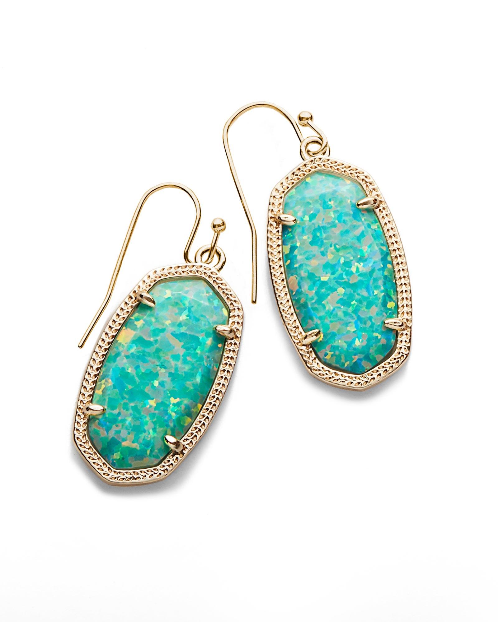 Dani drop gold earrings in aqua kyocera opal kendra scott for Kendra scott fine jewelry