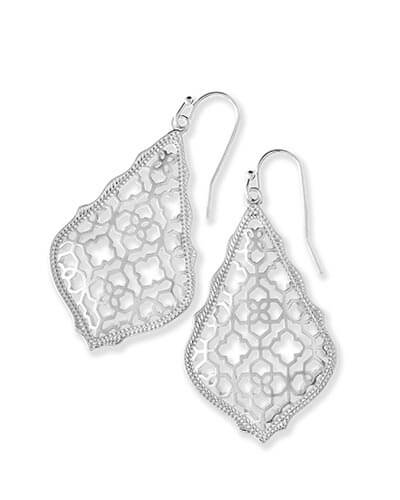 Addie Silver Drop Earrings in Silver Filigree