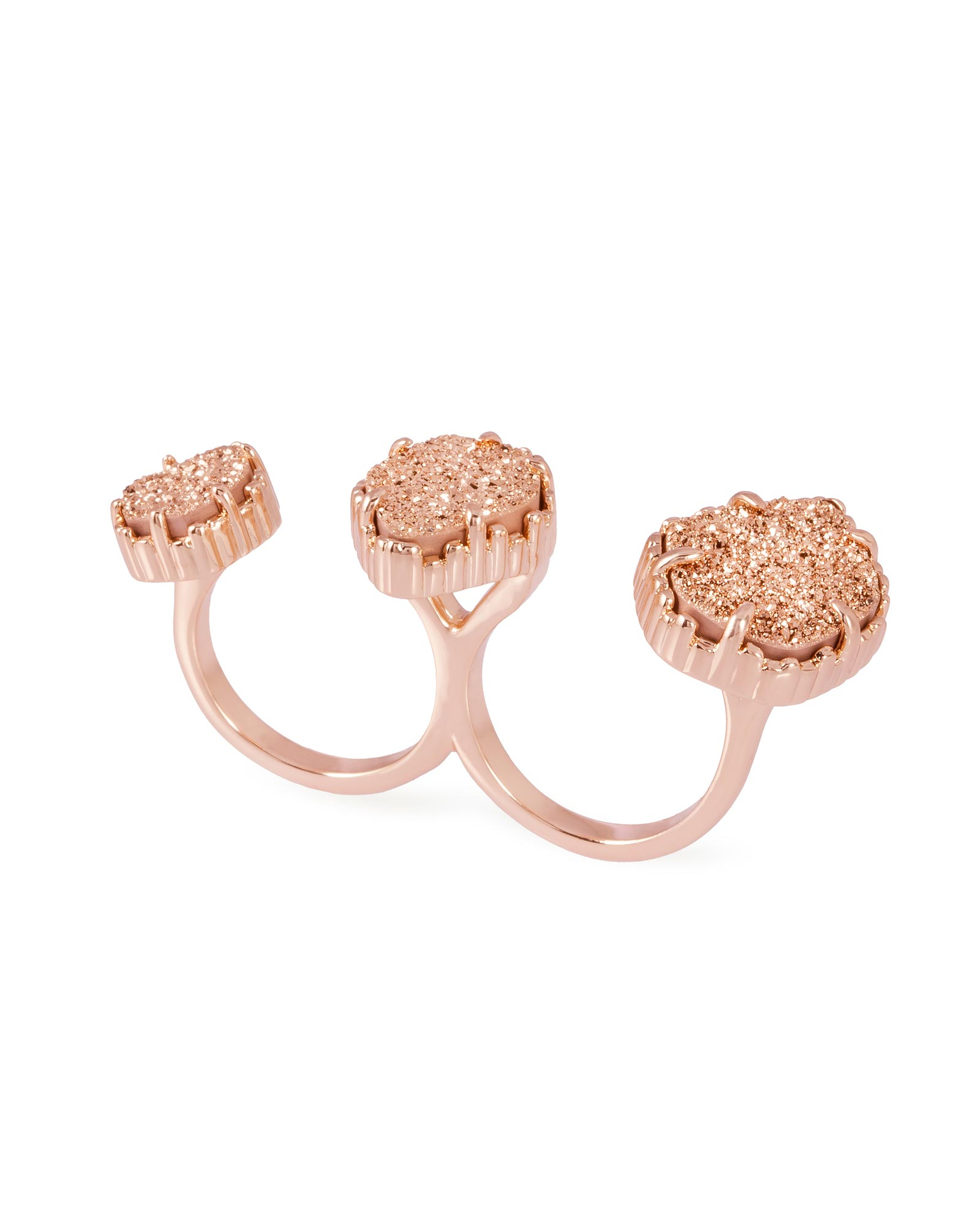 Naomi Double Ring in Rose Gold Drusy