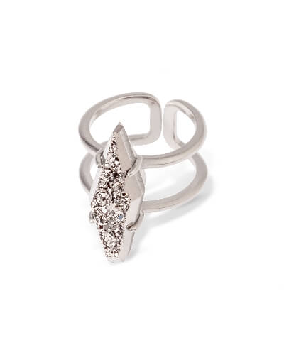 Boyd Cocktail Ring in Platinum Drusy - S/M from Kendra Scott Product Image