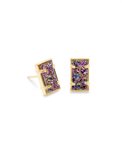 Paola Gold Stud Earrings in Multicolor Drusy