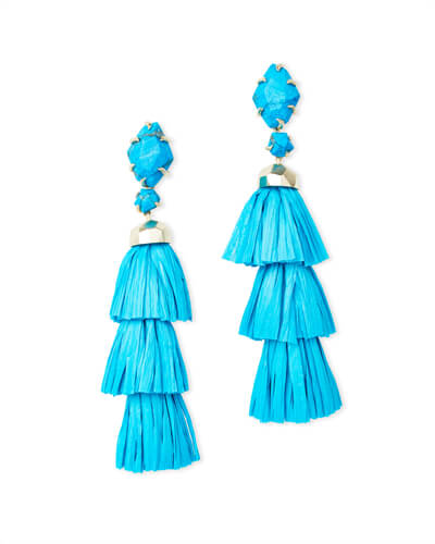 Denise Gold Statement Earrings In Aqua Howlite