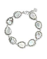 Kenzie Silver Link Bracelet In Ivory Mother-Of-Pearl