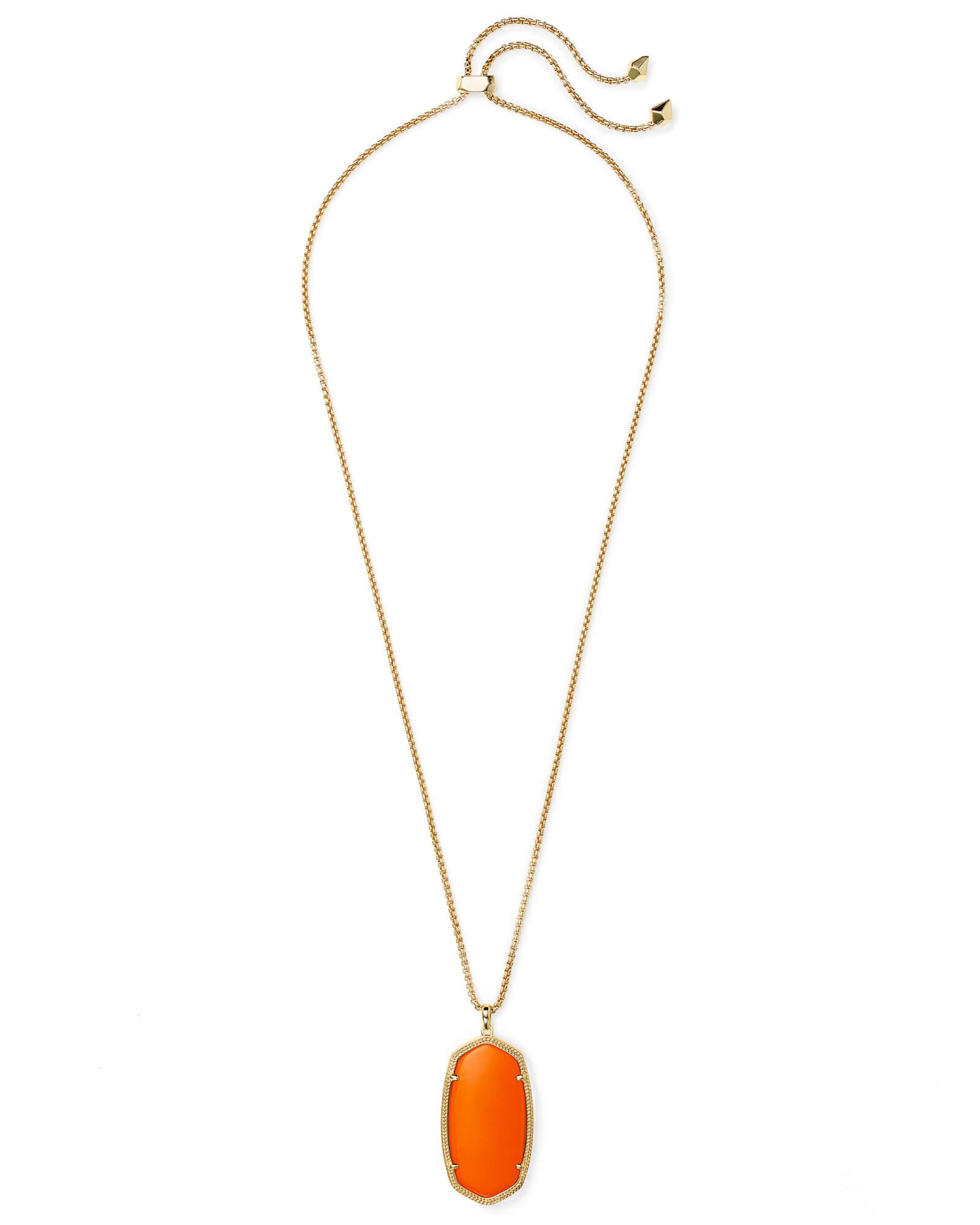 Reid Gold Long Pendant Necklace in Orange