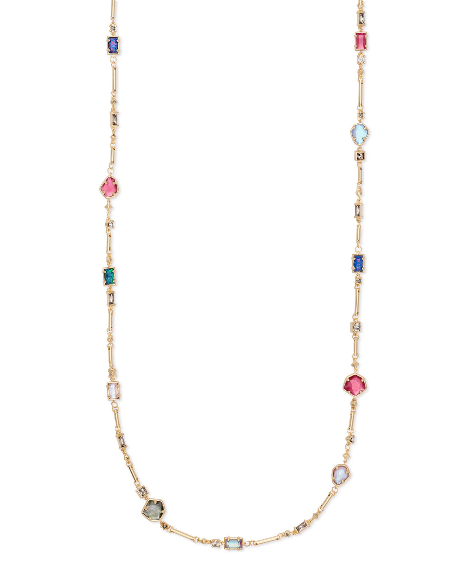 Yazmin Gold Long Necklace in Jewel Tone Mix