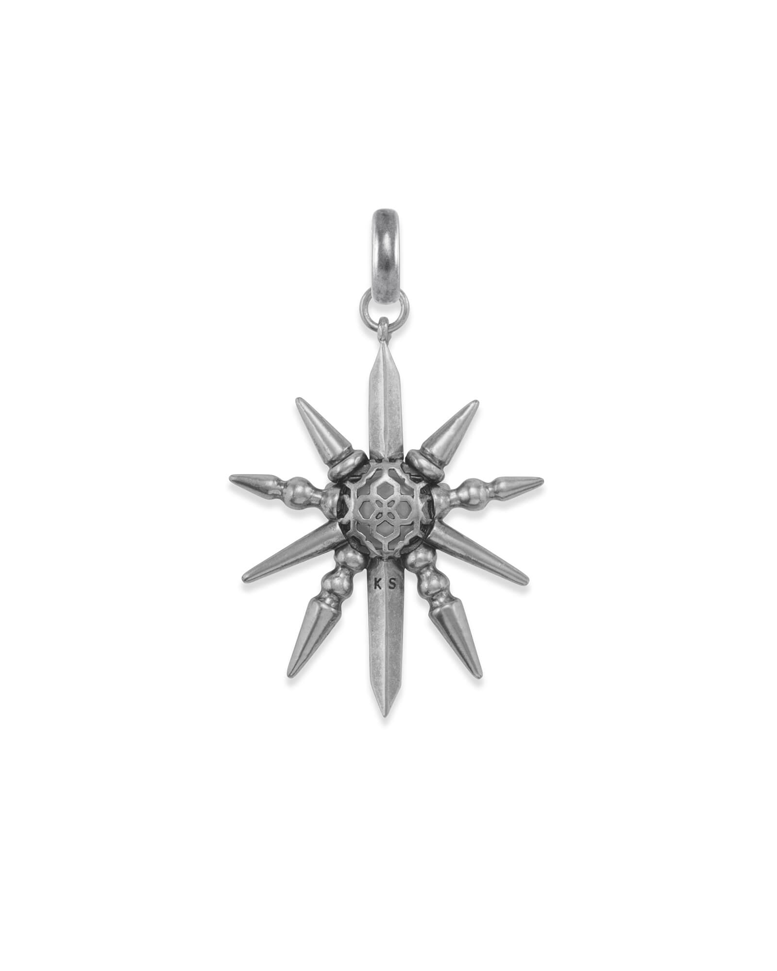 Sunburst with Pearl Charm in Vintage Silver