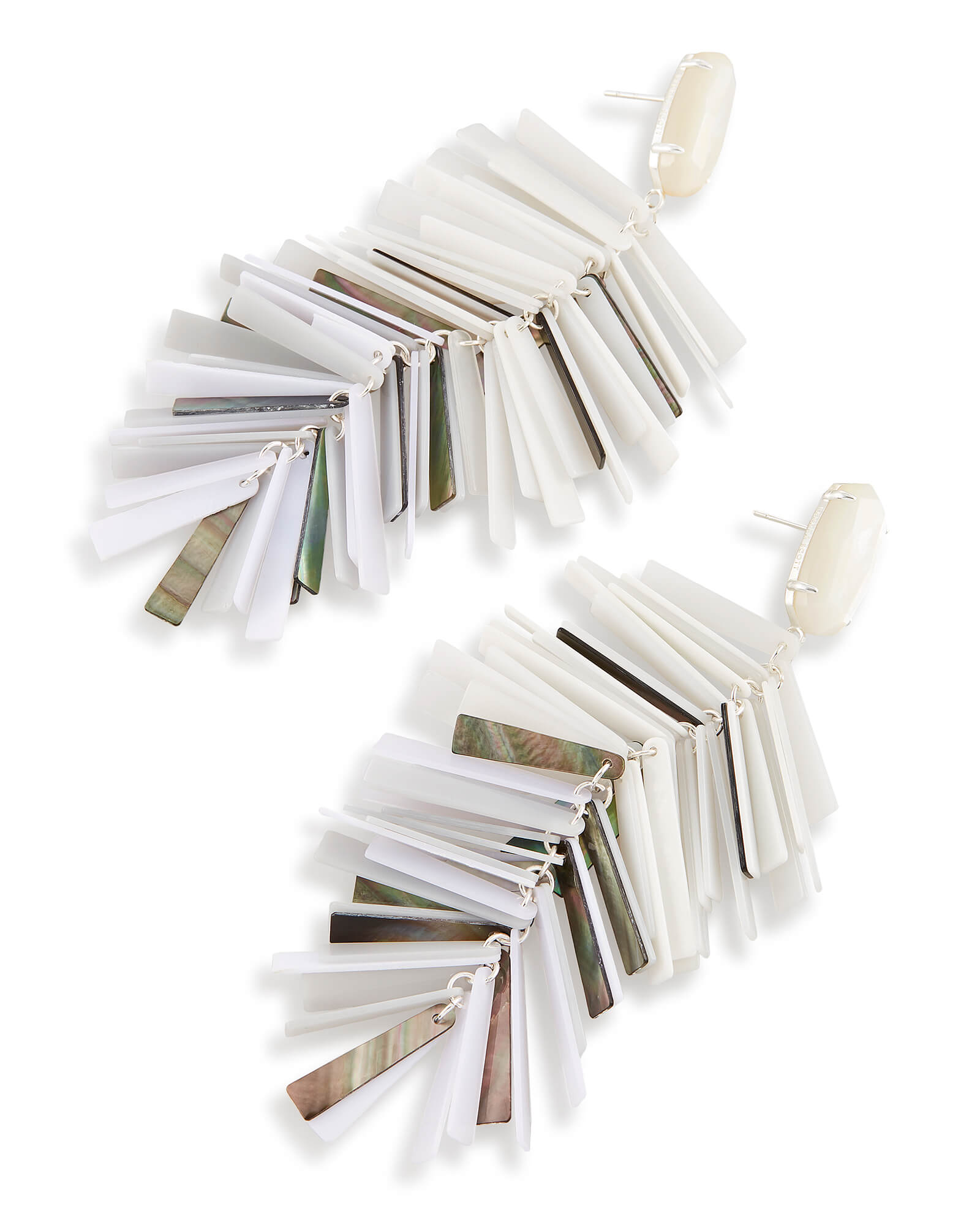 Justyne Silver Statement Earrings in Neutral Mix Mother of Pearl