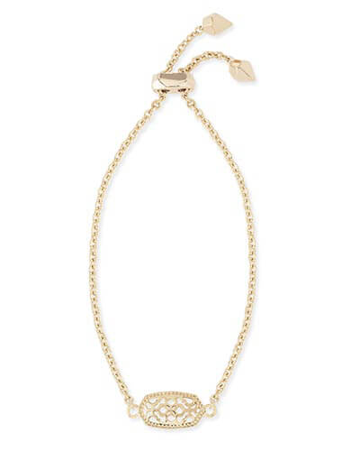 Elaina Gold Adjustable Chain Bracelet in Gold Filigree