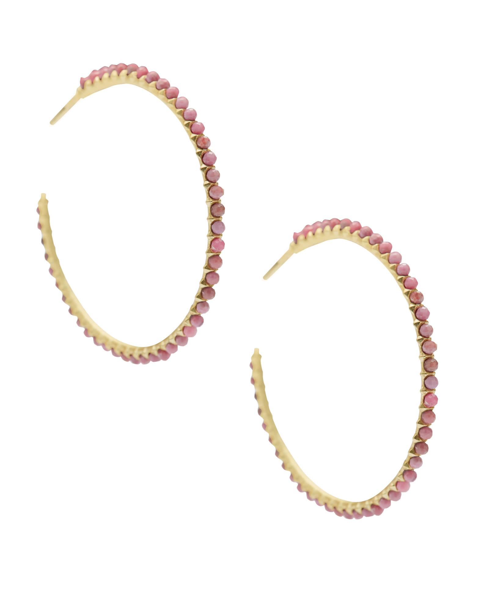 Bir Gold Hoop Earrings In Pink Rhodonite