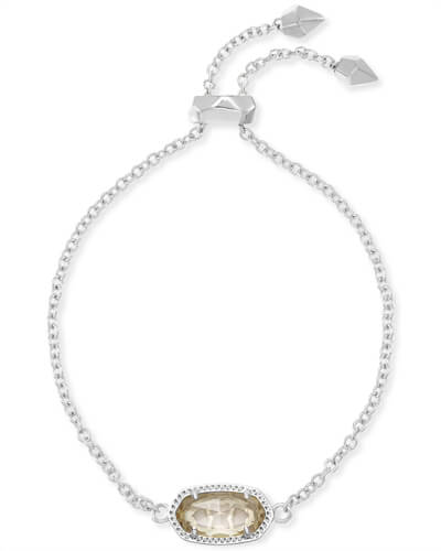 Elaina Silver Adjustable Chain Bracelet in Clear Crystal