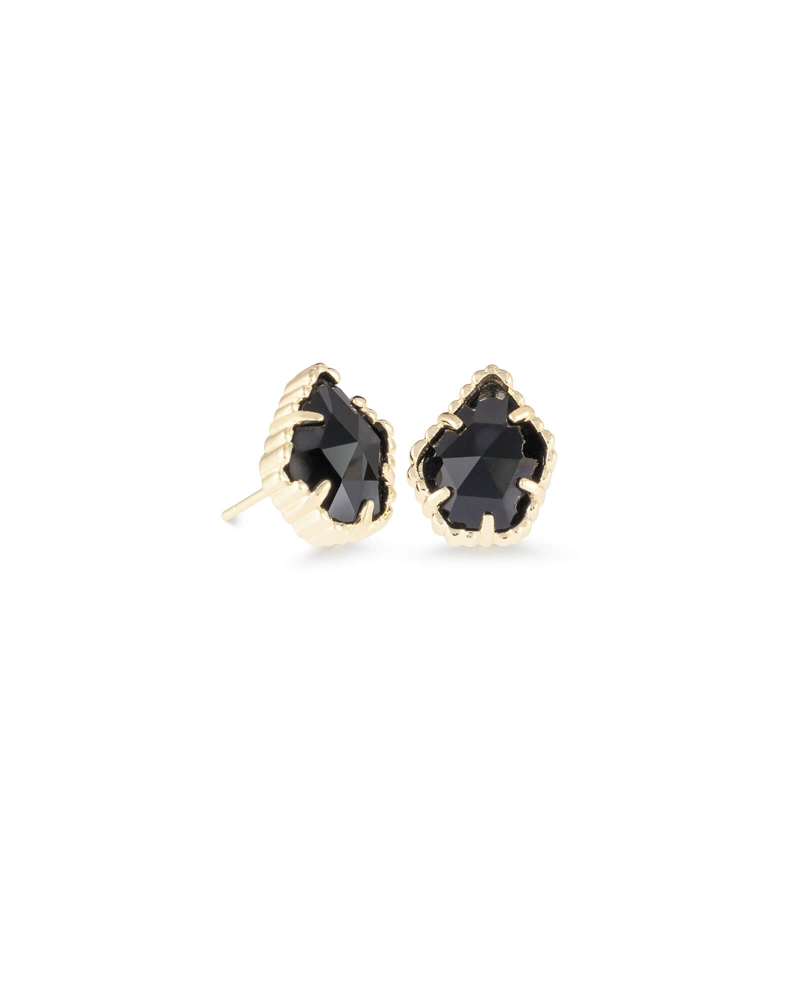 Tessa Gold Stud Earrings in Black