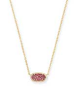 Elisa Gold Pendant Necklace in Raspberry Drusy