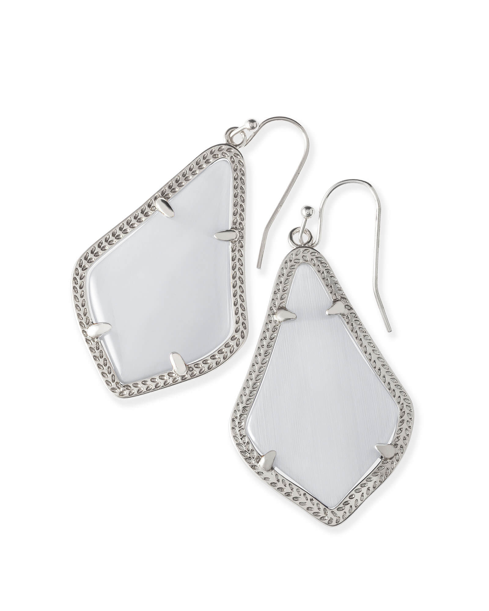 Alex Silver Drop Earrings in Slate Cats Eye