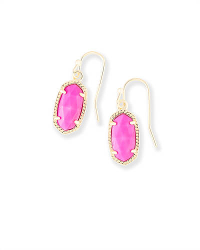Lee Gold Drop Earrings in Magenta