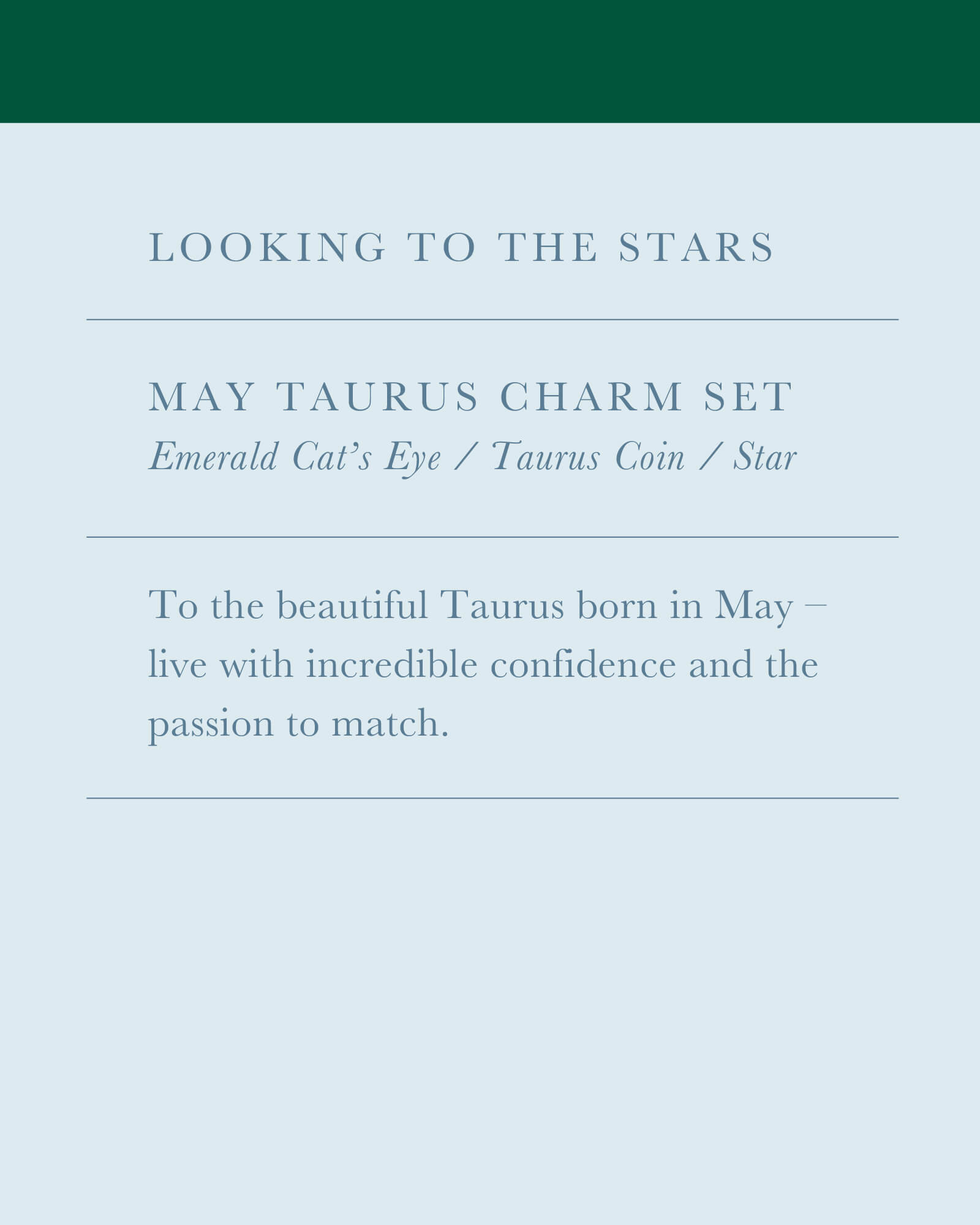 May Taurus Charm Necklace Set in Silver