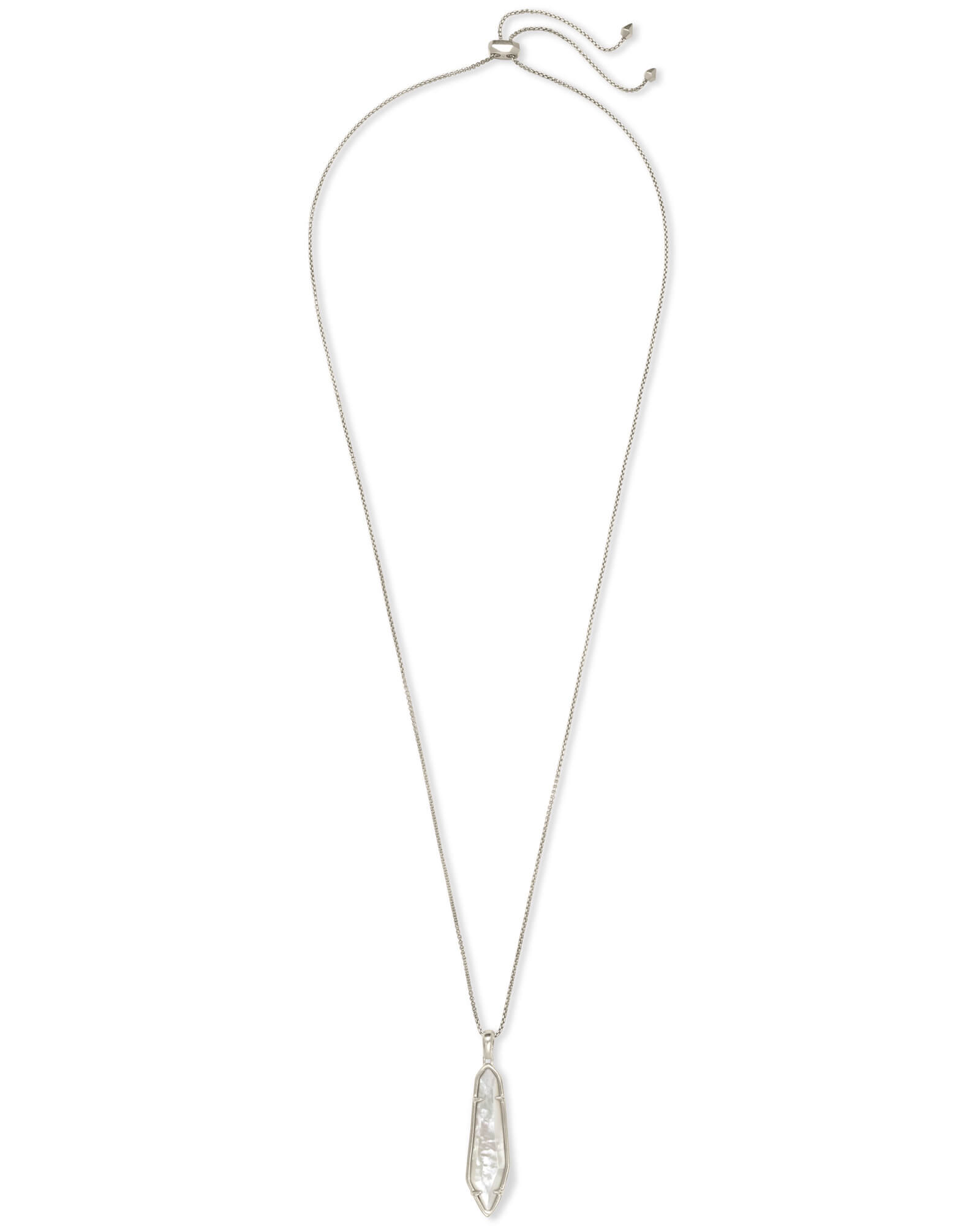 Cassidy Silver Pendant Necklace In Ivory Mother of Pearl