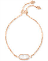 Elaina Rose Gold Adjustable Chain Bracelet in Ivory Pearl