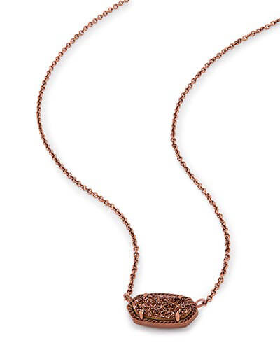 Elisa Pendant Necklace in Chocolate Drusy