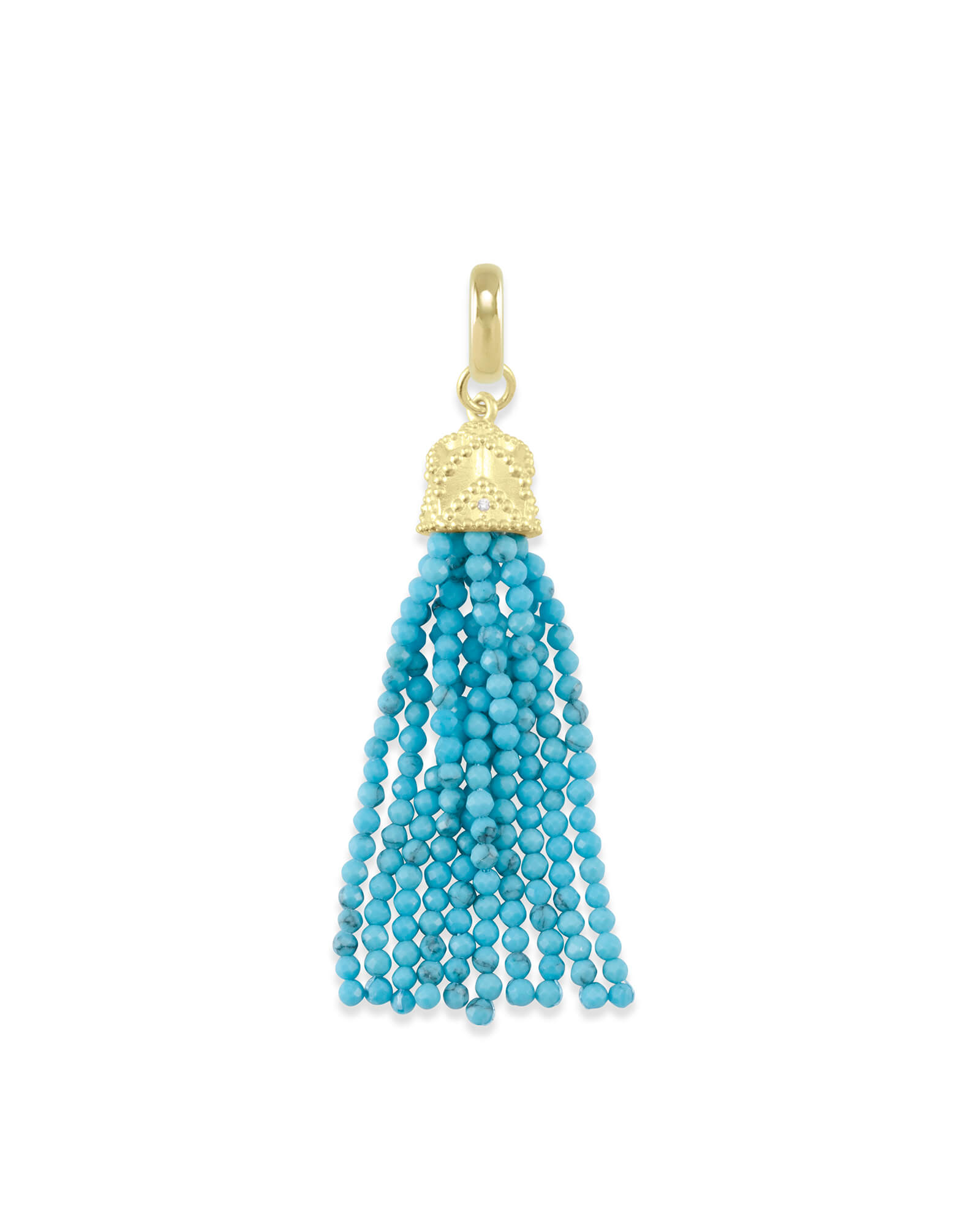 Beaded Gold Tassel Charm in Turquoise Magnesite