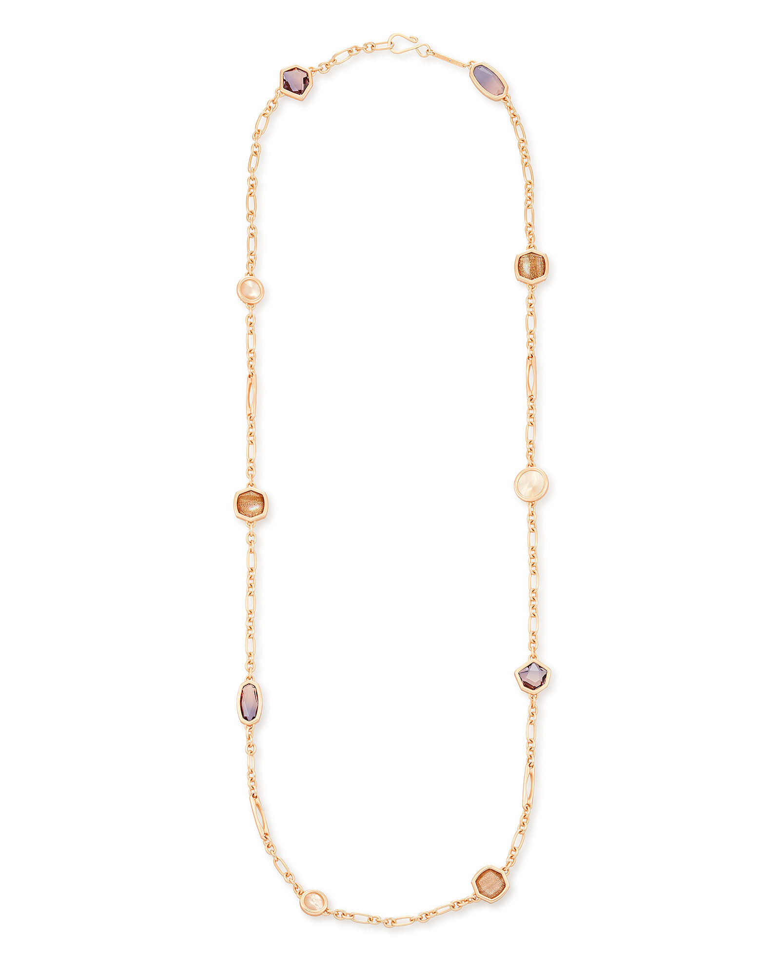 Natalia Rose Gold Long Necklace in Peach Mix