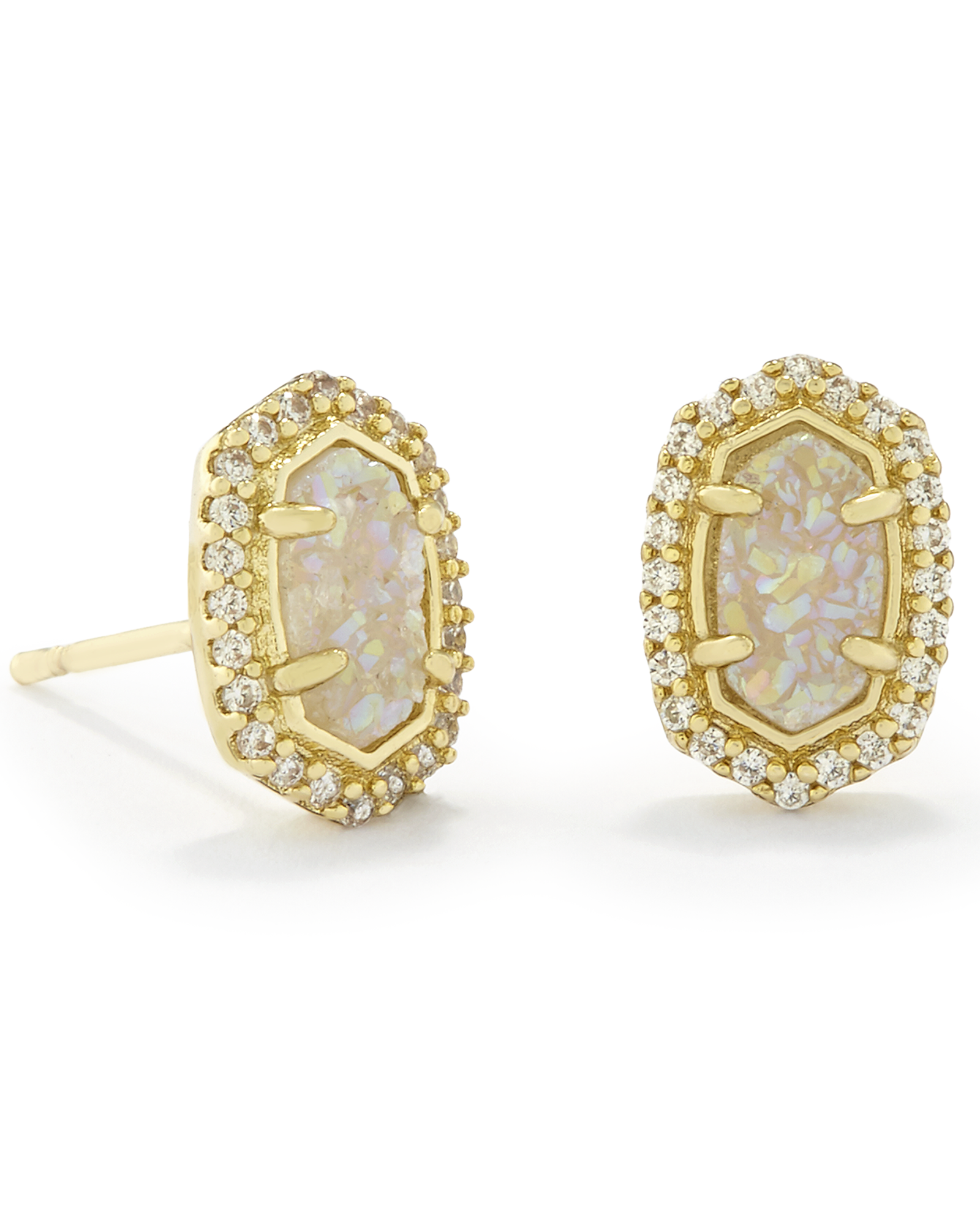 Cade Gold Stud Earrings in Iridescent Drusy Kendra Scott