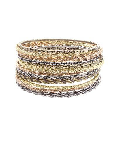 Shallon Bangle Bracelet Set in Mixed Metals
