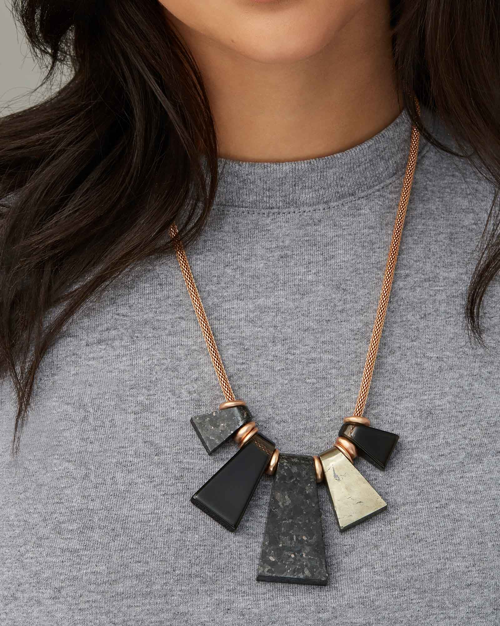 Rhodes Rose Gold Statement Necklace in Black Mix