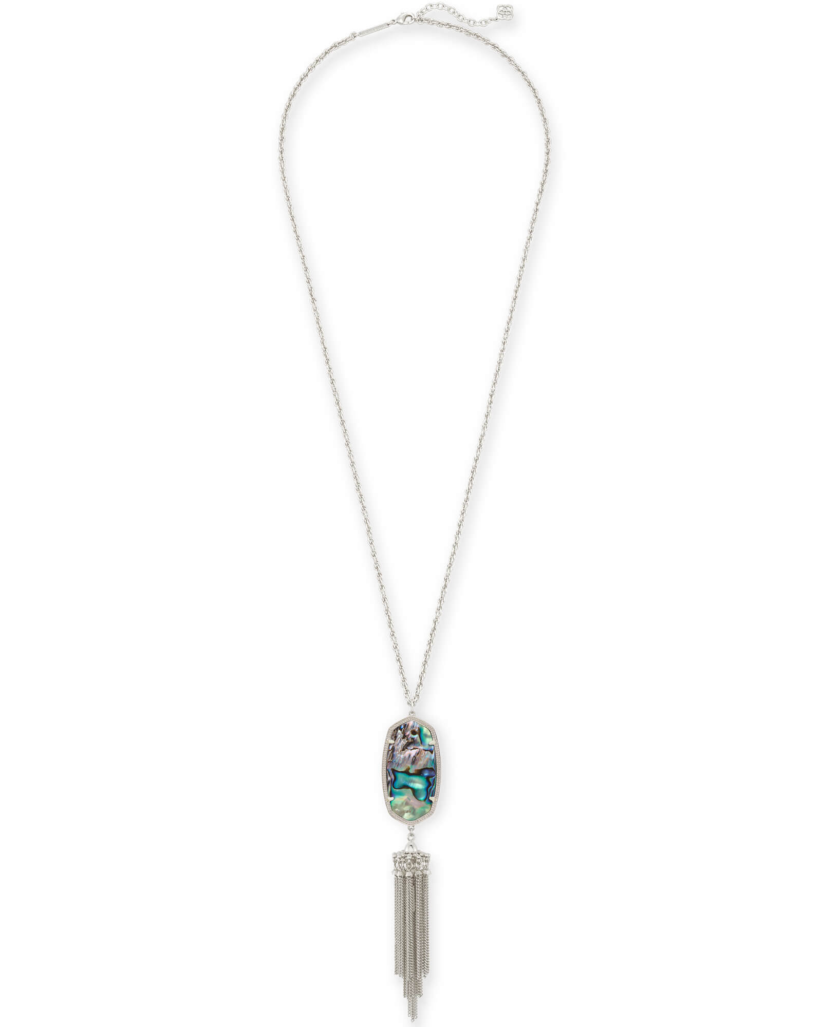 Rayne Silver Long Pendant Necklace in Abalone Shell