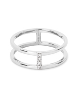 Waylon 14K Gold Band Ring in White Diamond