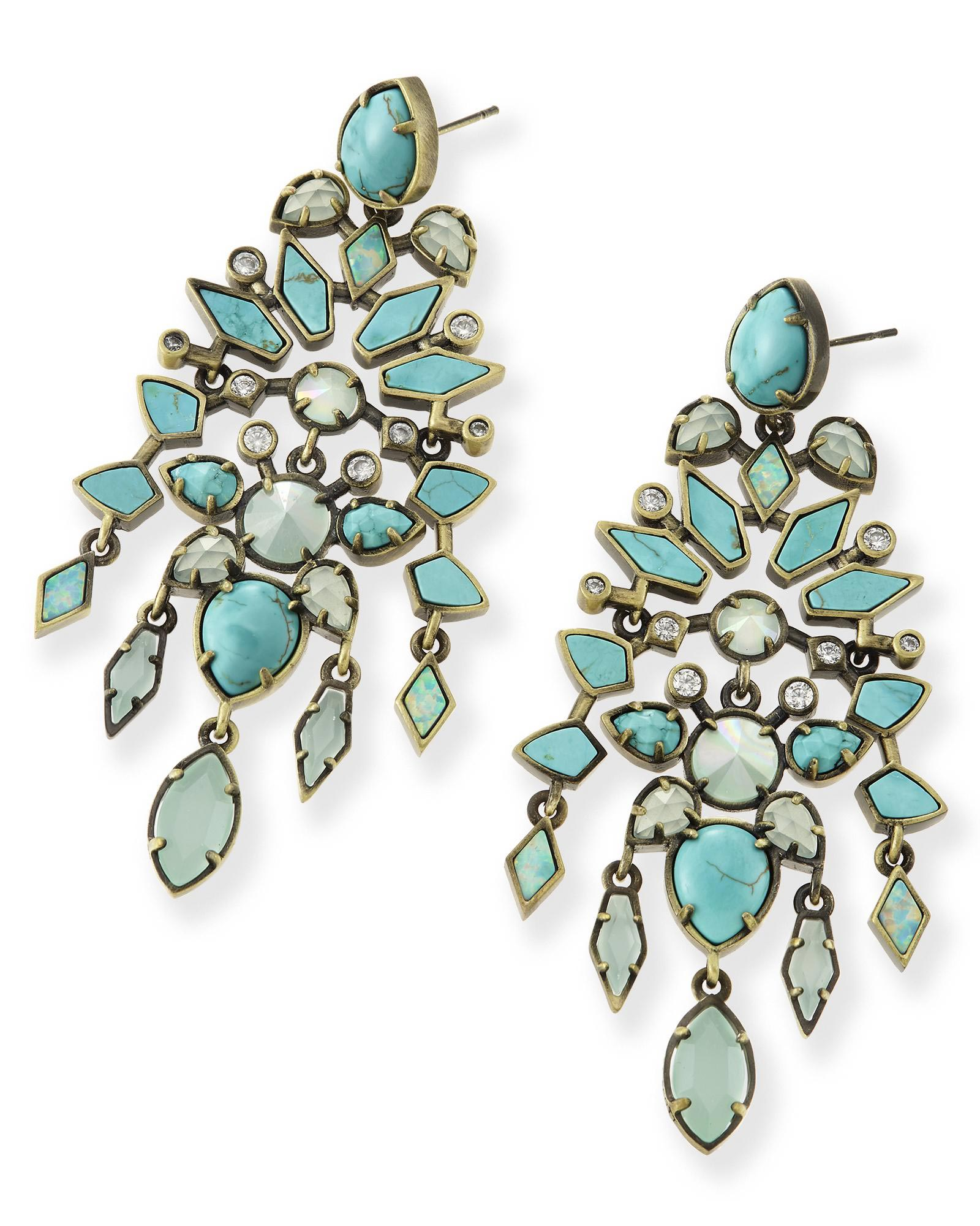 Aryssa statement earrings in blue turquoise kendra scott aryssa statement earrings in turquoise zellige arubaitofo Images