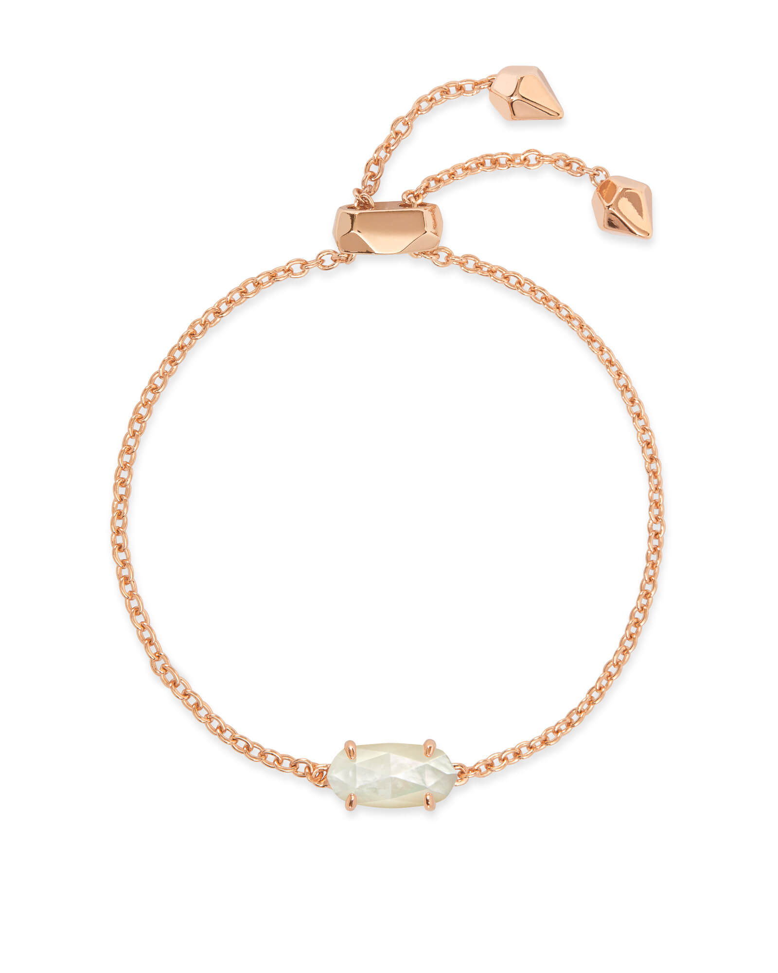 Everlyne Rose Gold Chain Bracelet In Ivory Pearl