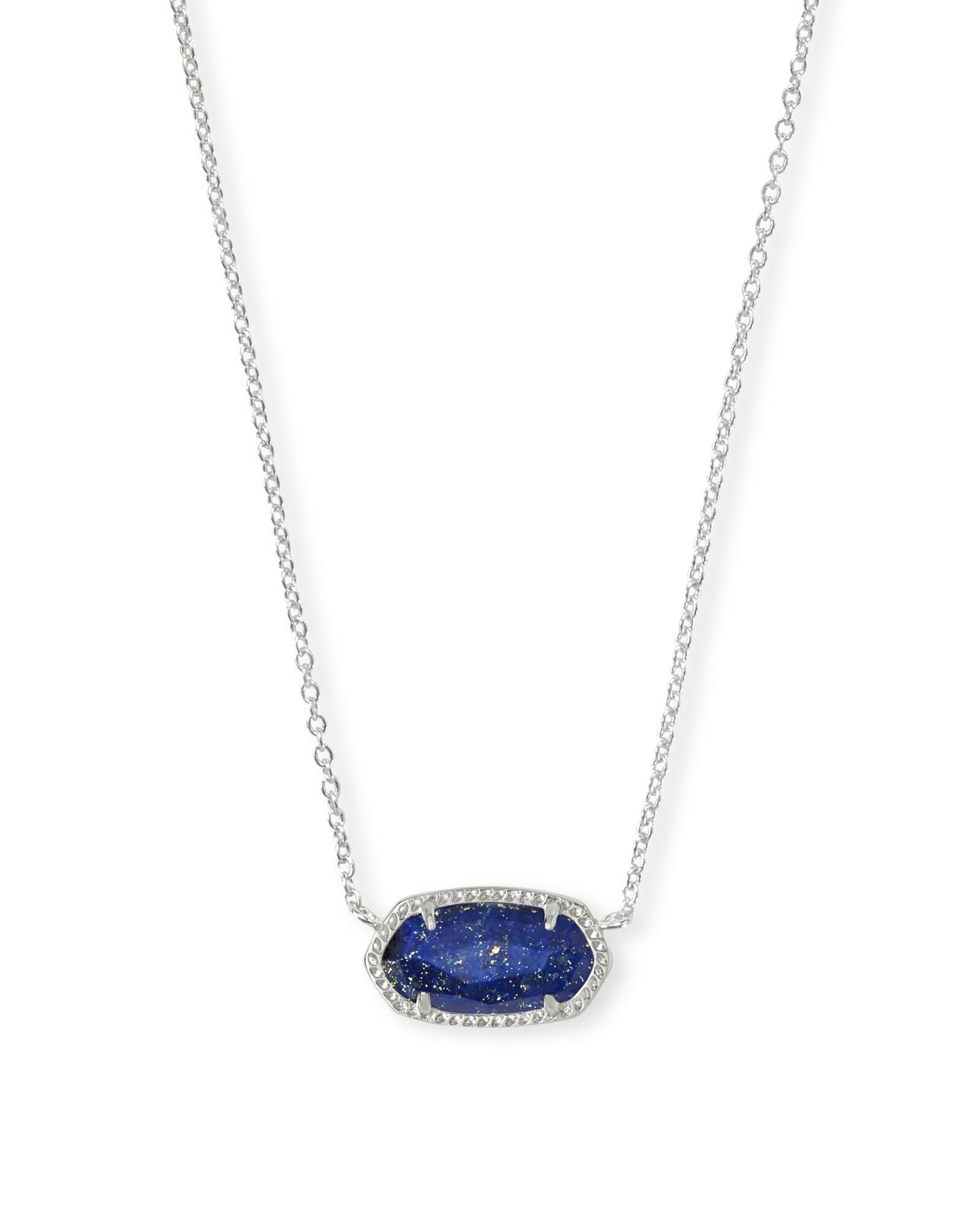 Elisa Bright Silver Pendant Necklace in Blue Lapis
