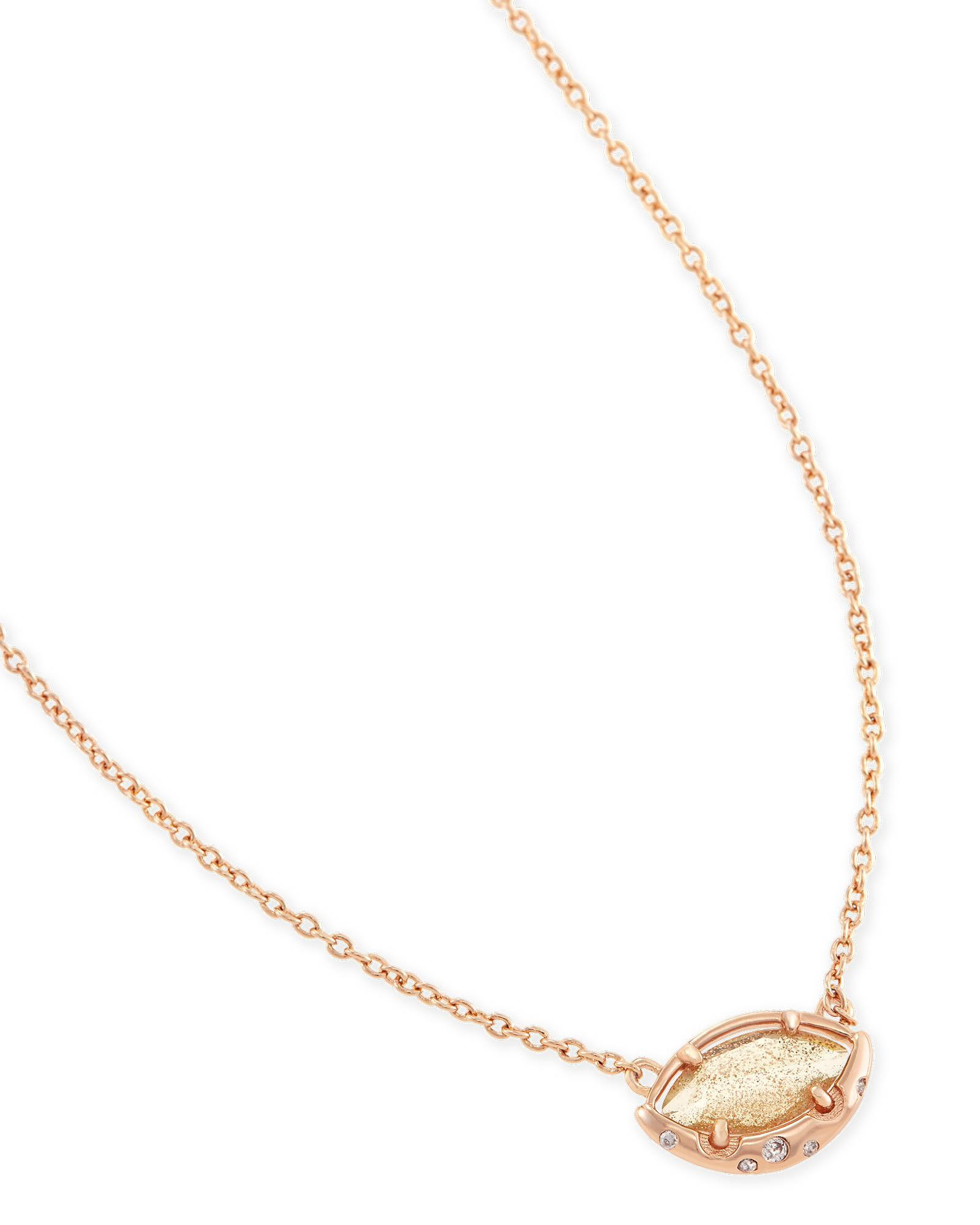 Mikka Pendant Necklace in Gold Dusted Glass