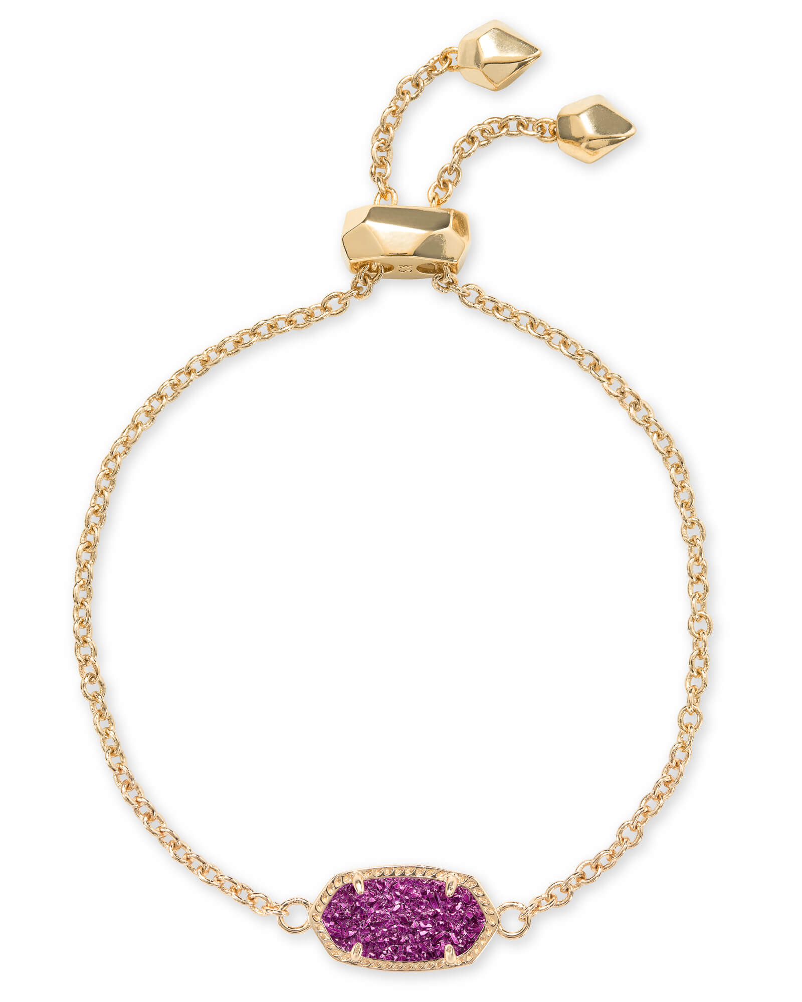 Elaina Gold Adjustable Chain Bracelet in Amethyst Drusy