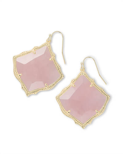 Kirsten Gold Drop Earrings in Rose Quartz