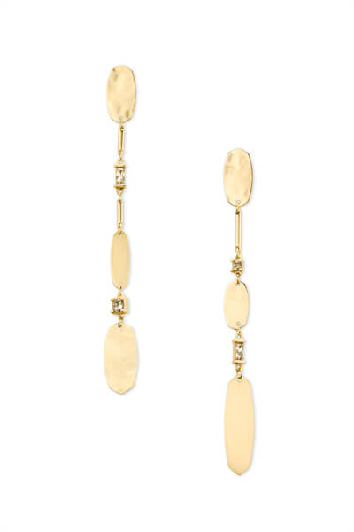 Calista Gold Statement Earrings in Smoky Mix