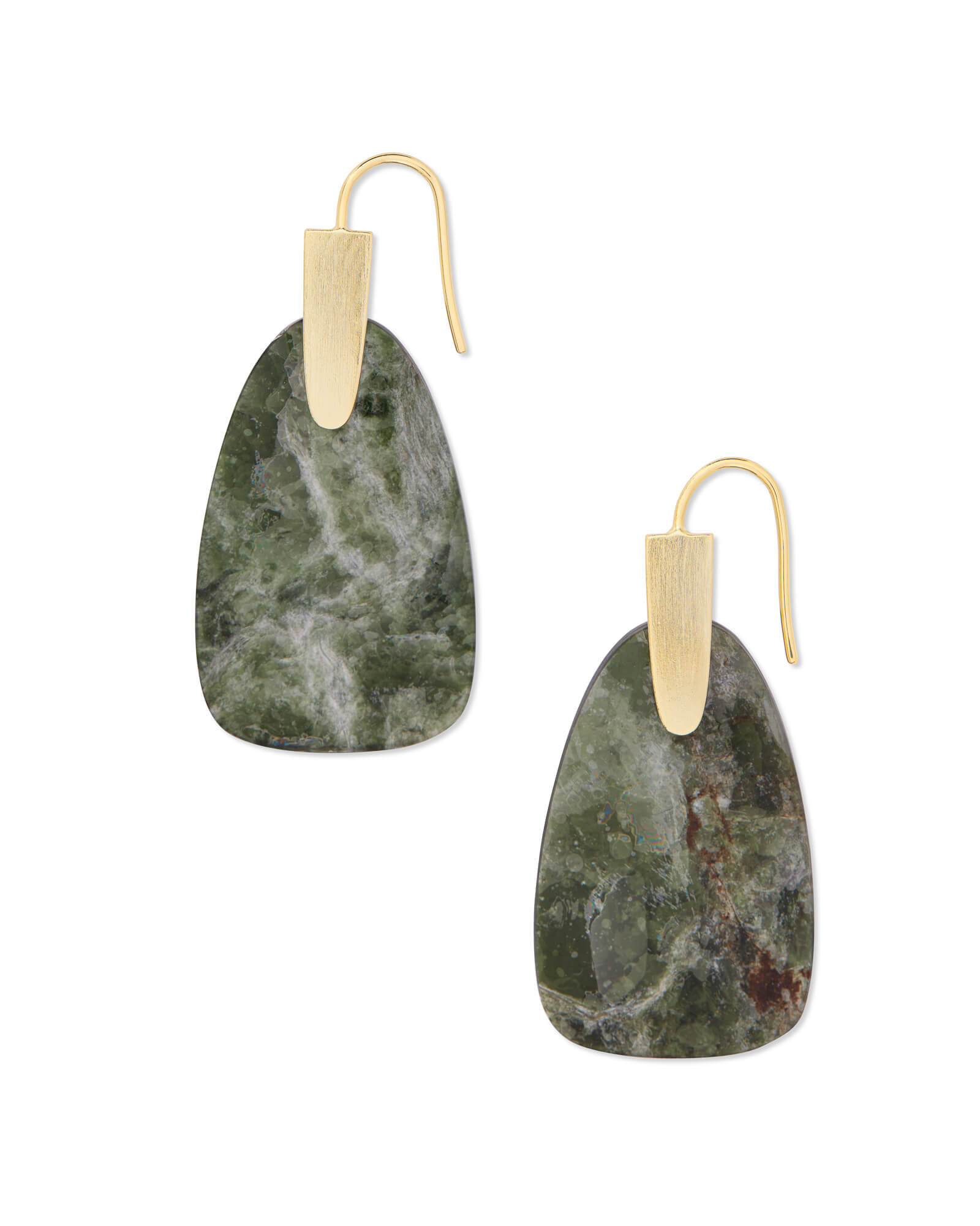 Marty Gold Drop Earrings in Sage Mica