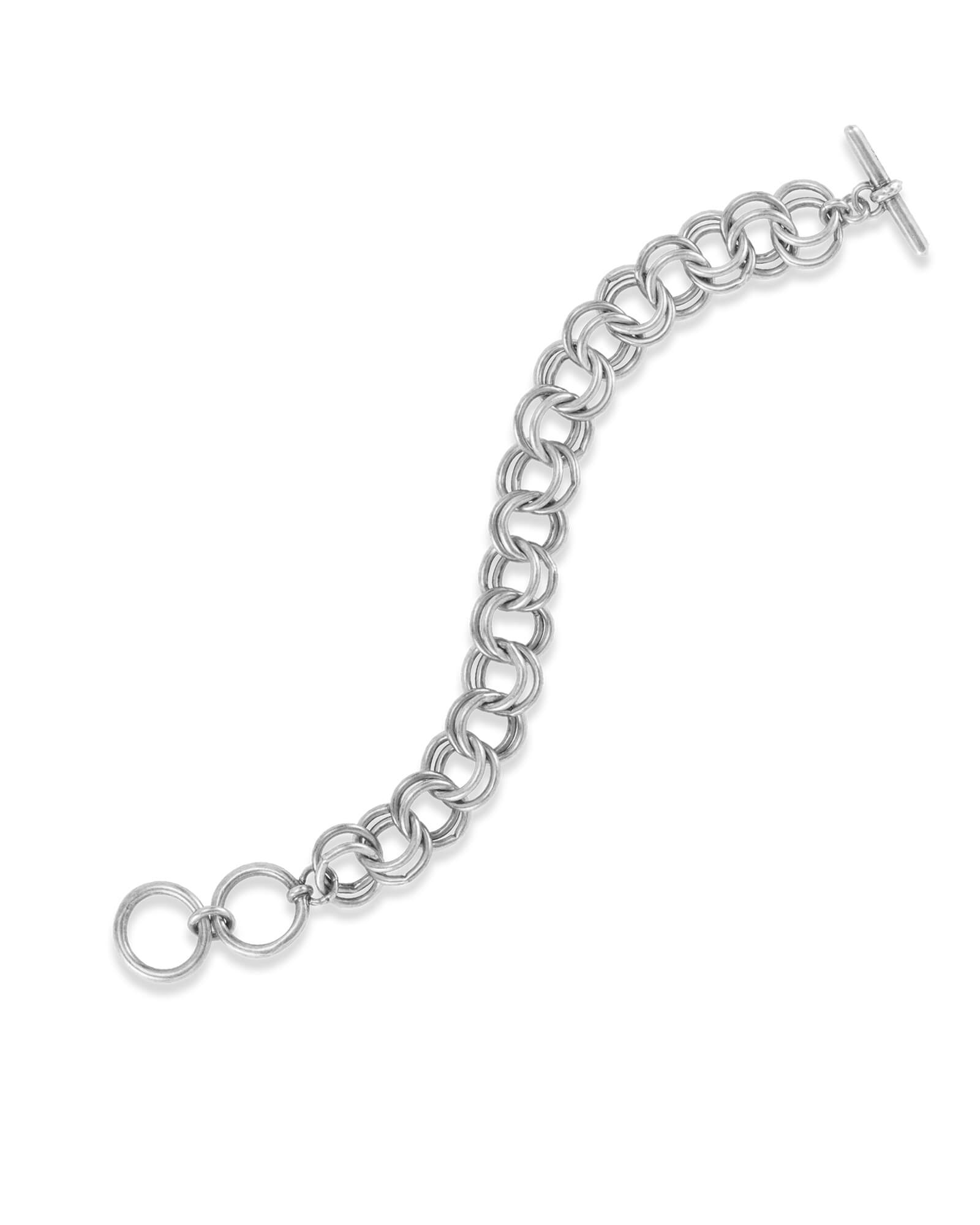 Petite Double Link Toggle Bracelet in Vintage Silver