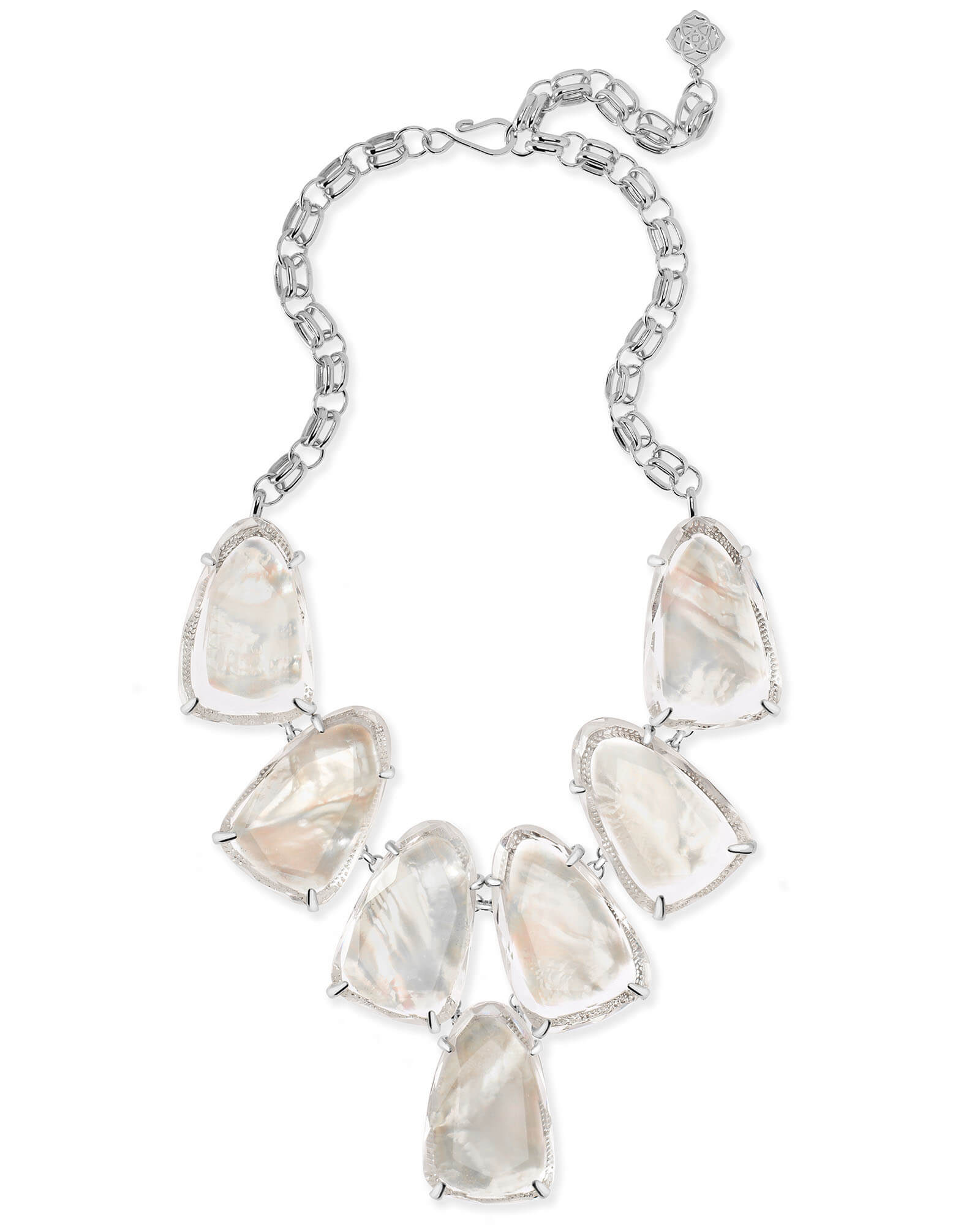 Harlow Silver Statement Necklace in Suspended Ivory Mother of Pearl