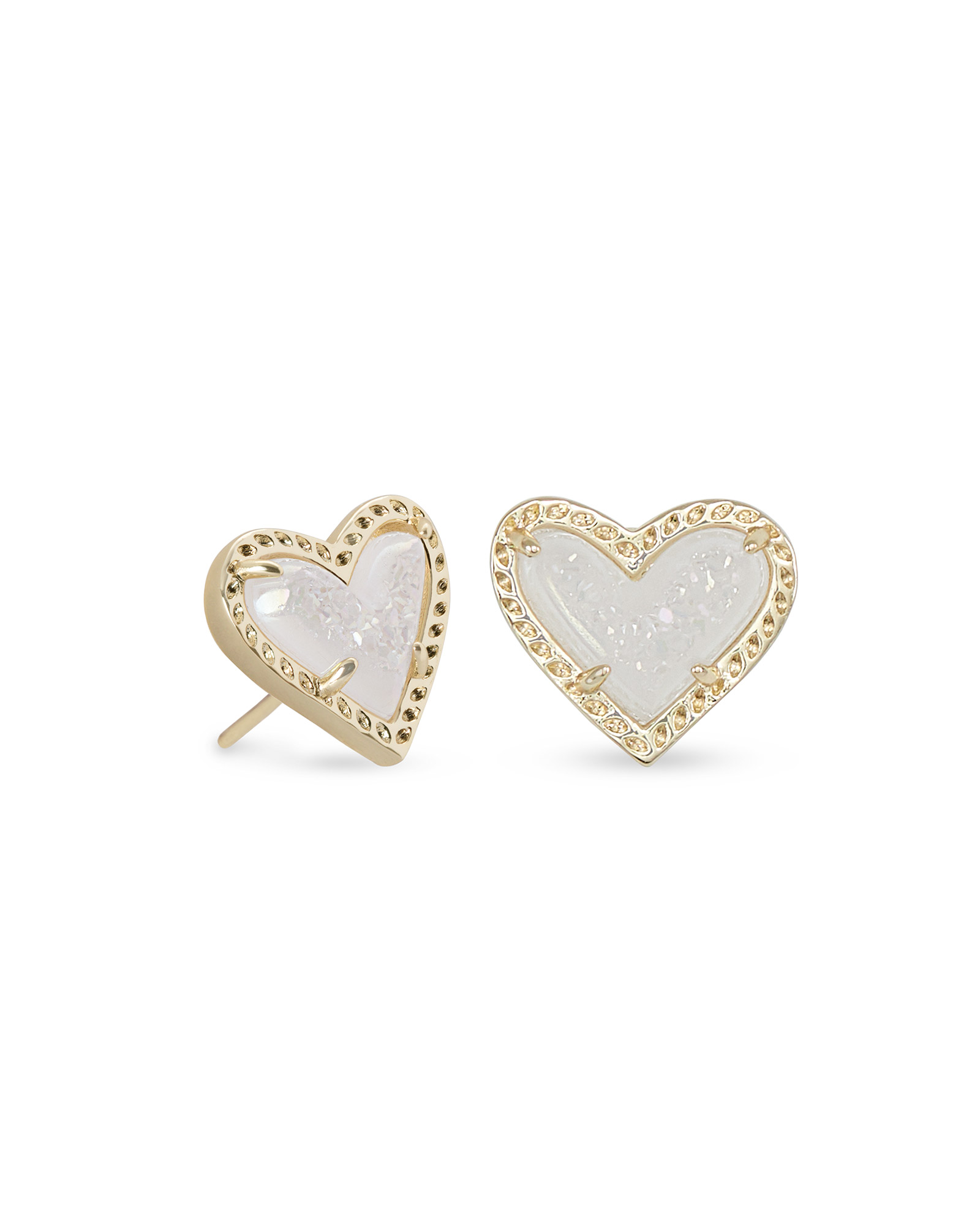 Ari Heart Gold Stud Earrings in Iridescent Drusy