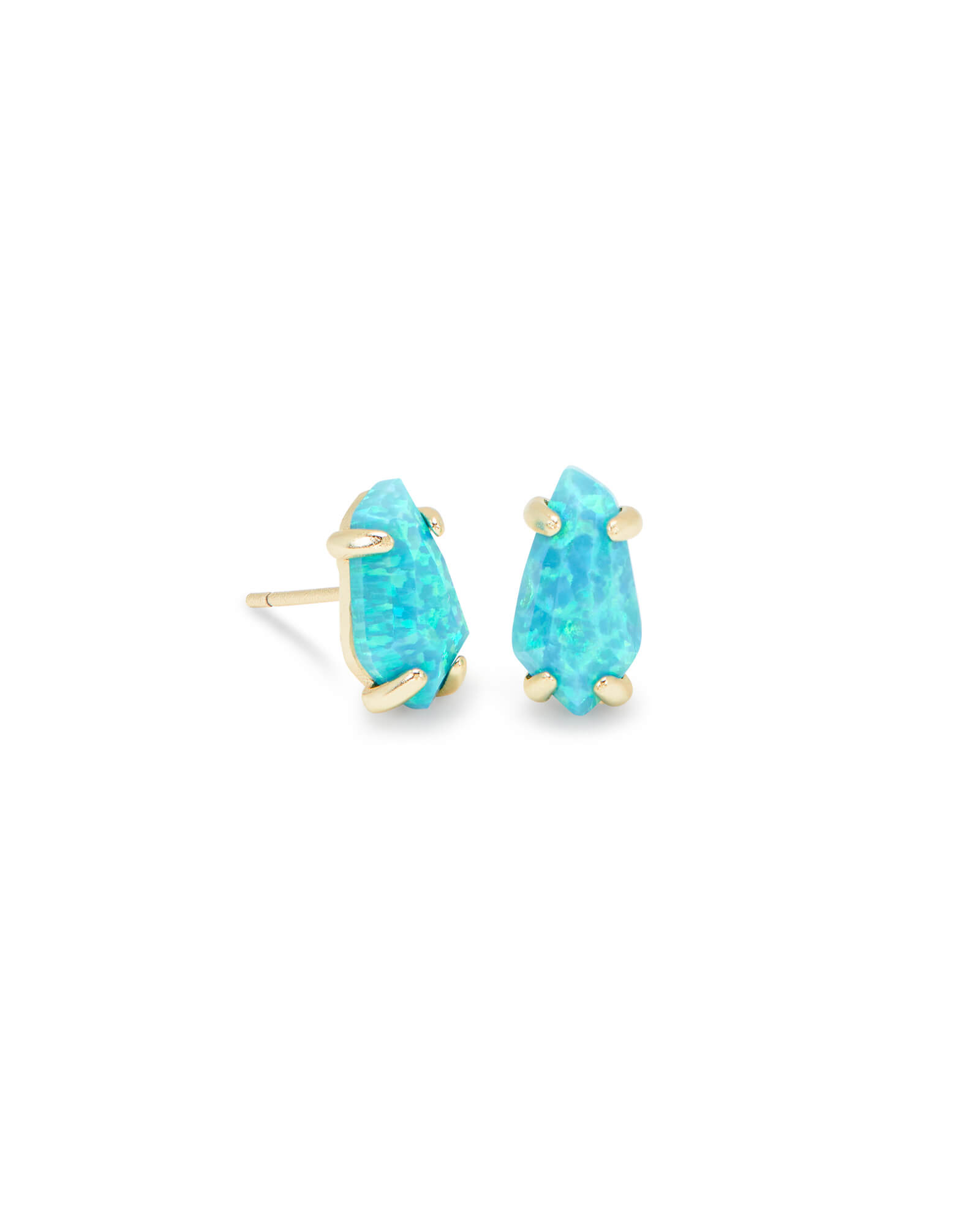 Jillian Gold Stud Earrings in Turquoise Kyocera Opal