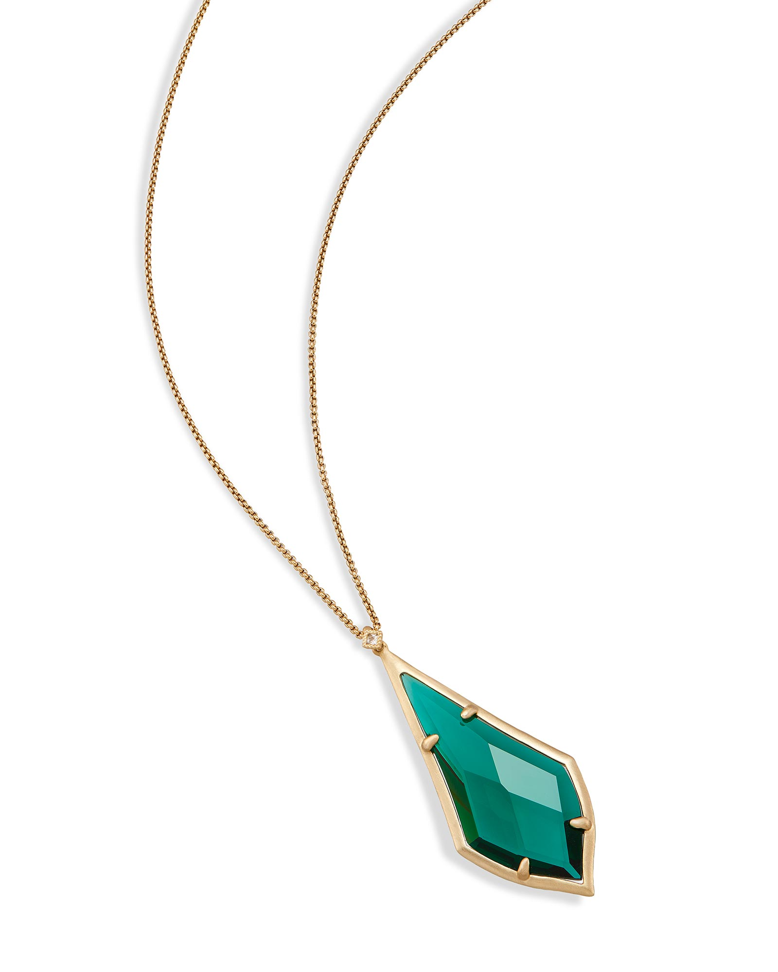 Damon Long Pendant Necklace in Emerald Glass