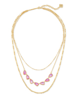 Susanna Gold Multi Strand Necklace in Deep Blush Mother-of-Pearl