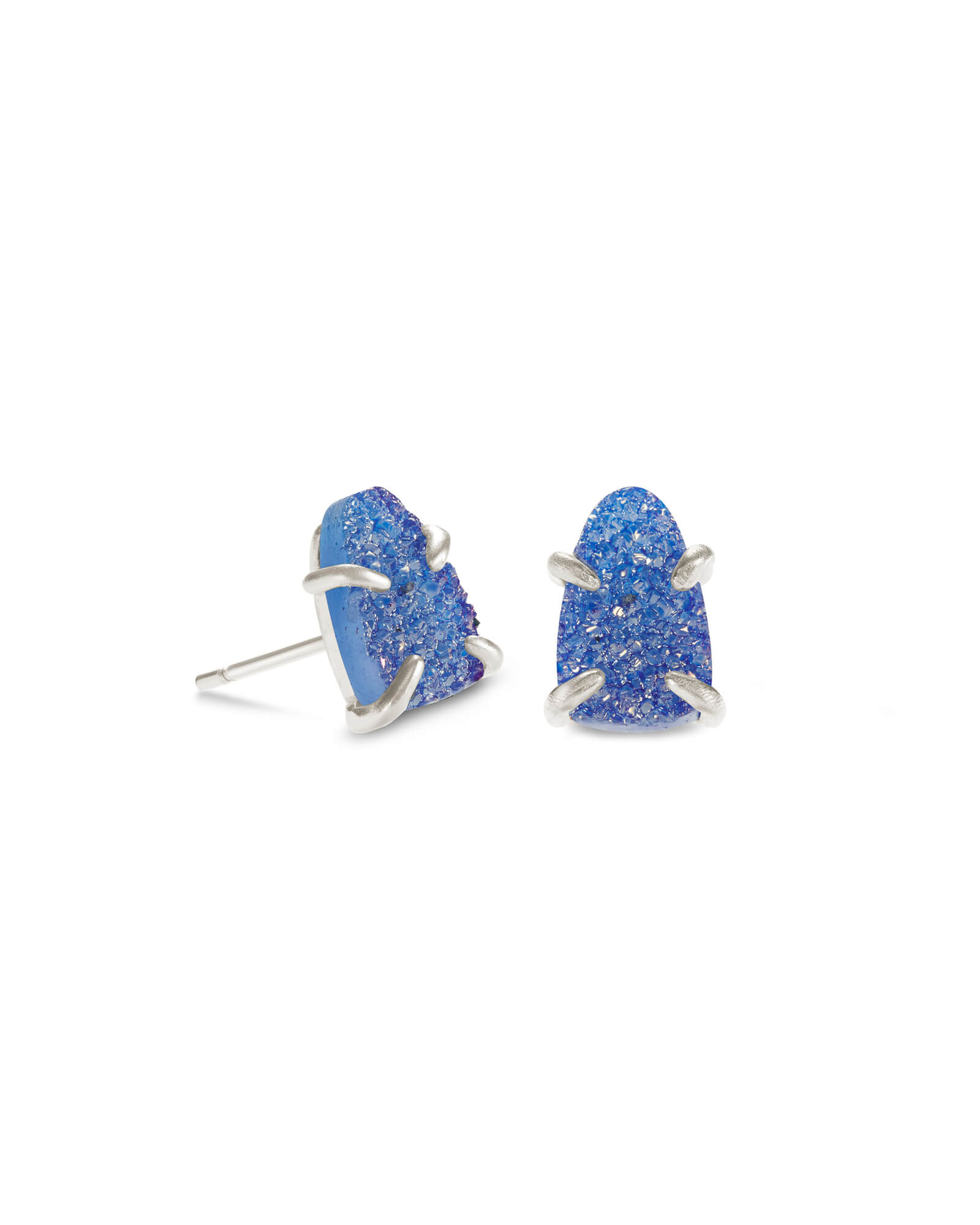 Harriett Silver Stud Earrings in Periwinkle Drusy