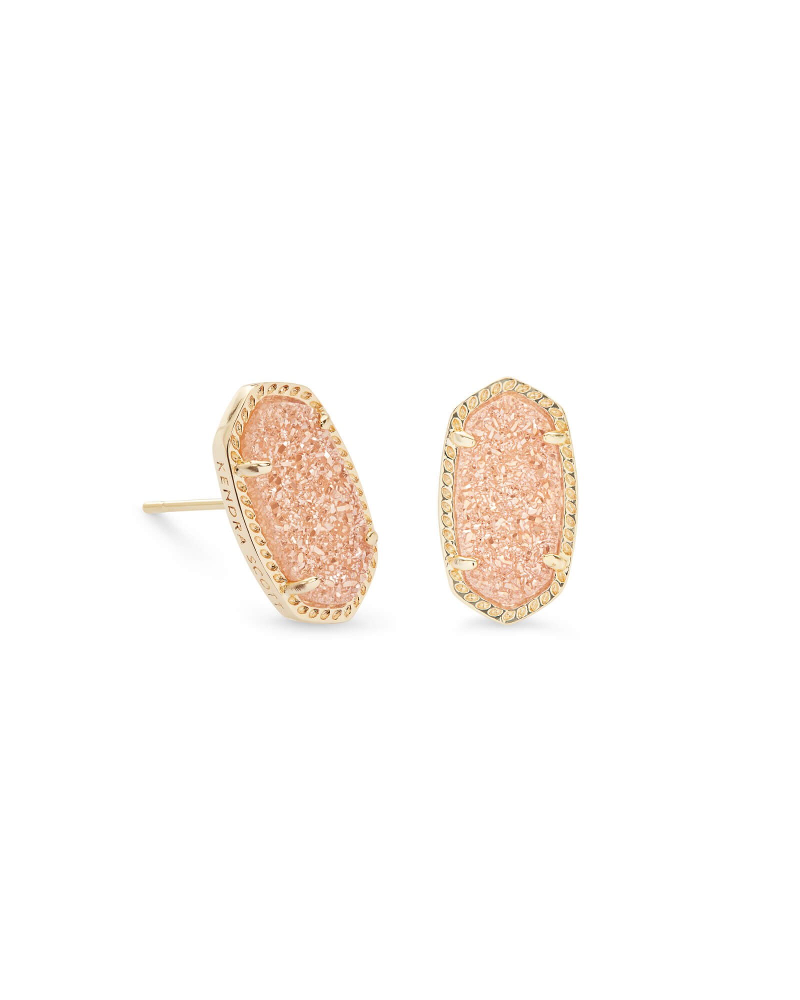 Ellie Gold Stud Earrings in Sand Drusy