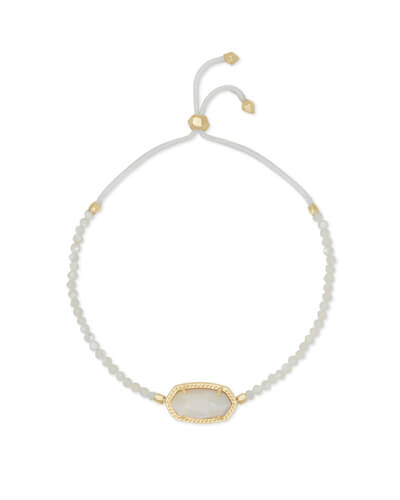 Elaina Gold Beaded Chain Bracelet in Ivory Pearl