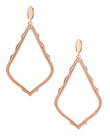 Sophee Clip On Drop Earrings in Rose Gold