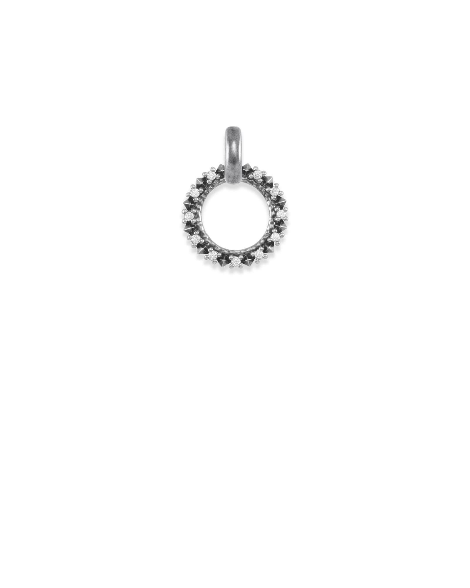 CZ Charm Pendant in Vintage Silver