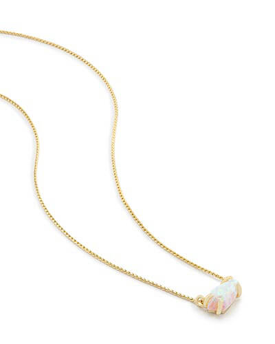 Jayde Pendant Necklace in White Kyocera Opal
